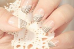 """If your look can only be described as """"boho-chic"""", then this might just be the perfect manicure for Lace Nail Art, Lace Nails, Pink Nails, Acrylic Nail Designs, Nail Art Designs, Acrylic Nails, Lace Wedding Nails, Chic Wedding, Boho Chic"""