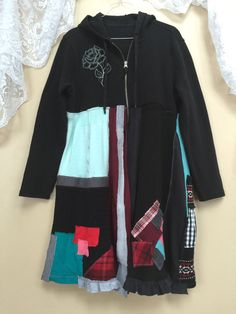 Large Upcycled Black Patchwork Hoodie Gypsy by SimplyCathrineAnn