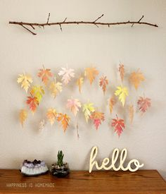 Watercolor Fall Leaf and Branch Mobile