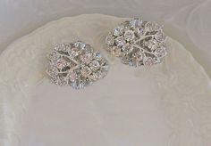 Silver and Rhinestone Crystal Shoe Clips for Wedding shoes, Bridal accessory, Vintage Style Wedding Accessories, Diamante sparkle