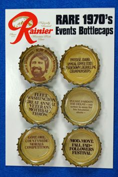 6 RARE & UNIQUE 1970's Rainier Beer Events Bottlecaps To see the Price and Detailed Description you can find this item in our Vintage Advertising Category on eBay: http://stores.ebay.com/tincanalley1/Vintage-Advertising-/_i.html?_fsub=19469218018  RD19324