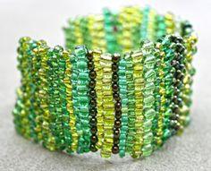 Green Brick Stitch Bracelet Cuff Beadweaving Crystals by EmmaEmJD, £30.00