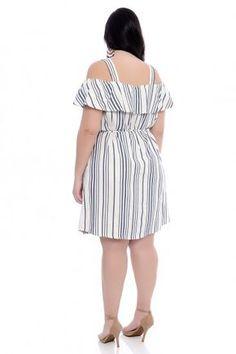 Vestido Plus Size Ciganinha Marinho Vestidos Plus Size, Plus Size Dresses, Casual, Cold Shoulder Dress, Vintage, Fashion, Patterned Dress, Dress Backs, Party Crop Tops