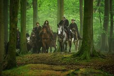 Jamie, Claire, Dougal & other MacKenzie clansmen ride to meet redcoat deserter Horrocks, who has information to clear Jamie's name of the false murder charge. | Outlander S1E8 'Both Sides Now' on Starz