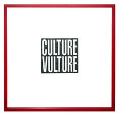Available for sale from Carolina Nitsch Contemporary Art, Barbara Kruger, Culture Vulture (2012), Debossed archival pigment print on surface Gampi and Strathmore Bristol paper (chine collé), in red artist's frame, 17 1/2 × 17 in