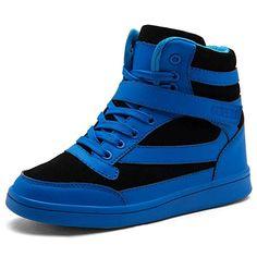 e18d558a451d UBFEN Women s Shoes Hidden Wedges 5.5cm Fashion Sneakers Ankle Boots Bootie  Platform Heel High Top Casual Sports 7.5 B(M) US Blue
