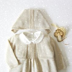 Knitted Christening Gown in pearl Dress coatee cap by tenderblue, $205.00