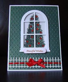 Stampin Up Handmade Christmas Tree Window Card - Uses embossing folder: