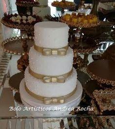 BOLOS ARTÍSTICOS ANDRÉA ROCHA - Bolos Decorados - Porto Alegre - RS: Bolo de Casamento Branco com Dourado