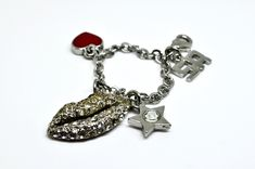 bijoux de sac Sonia Rykiel vintage bijoux de téléphone porte-clés avec les breloques bouche en strasse, étoile et cœur, logo SR, bon état de la boutique FashionstoryFrance sur Etsy