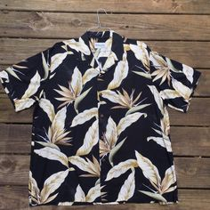 5d9956f6 Bishop Street Hawaiian Shirt- Men's XXL- Plus Size Vintage- Luau- Birds of  Paradise- Black- Beige- 2XL- Floral Print- Aloha Shirt- Classic