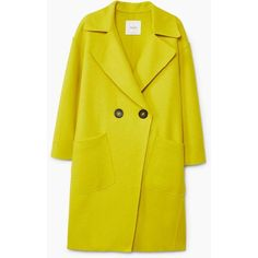 Unstructured Wool-Blend Coat (€105) ❤ liked on Polyvore featuring outerwear, coats, oversized coats, mango coats, wool blend coat and yellow coat