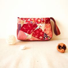 Patchwork Cosmetic handy Bag, Makeup Bag, toiletry bag, Zipper purse, light red, portamonete, pouch, Gift For Her by berriesDot on Etsy