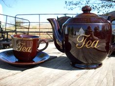 Tea for four  Brown and gold tea pot with four tea by BoldasLions,