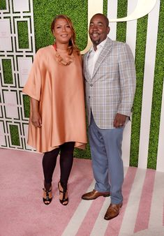 Actress/singer Queen Latifah and CEO of Flavor Unit Entertainment Shakim Compere attend the 2015 BET Awards Debra Lee Pre-Dinner at Sunset Tower Hotel in Los Angeles, California. Plus Size Dresses, Plus Size Outfits, Plus Zise, Look Plus Size, Queen Latifah, Fashion To Figure, Plus Size Designers, All Black Outfit, Black Girl Fashion