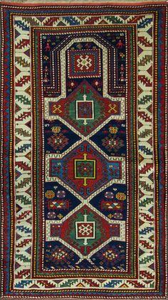 "A Kazak Prayer Rug Size: 3'3"" x 5'9"" - 99cm x 175cm Origin: Central CaucasusPeriod: C 1890"