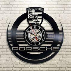 Porsche Car Logo Vinyl Record Wall Clock