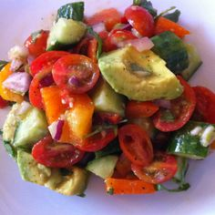 Holy Guacamole Salad...all the flavors of guacamole in a deconstructed salad. SO GOOD! Click here for the recipe --> http://stupideasypaleo.com/2012/06/25/holy-guacamole-salad/ #paleo #guacamole