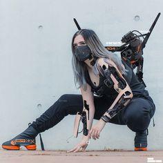 model & style: bejonson & aoku (cyborg, android, cyberpunk, robot) poses Cyborg SFX by Ahmet Atil Akar Cyberpunk Mode, Cyberpunk Girl, Cyberpunk Fashion, Cyberpunk Tattoo, Cyberpunk Anime, Cyberpunk 2077, Fashion Goth, Fashion Mask, Steampunk Fashion