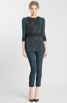 Free shipping and returns on Dolce&Gabbana Lace Appliqué Crepe Tunic Top at Nordstrom.com. Delicate floral lace framed by gently rolling scallops charms the front of a slim crepe top saturated in a deep hue. Similar ribbons embroidered for a richer look and feel surround the waist and three-quarter sleeves.
