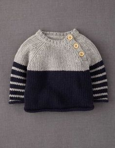 Knitting pullover kids jumpers ideas for 2019 Knitting Patterns Boys, Baby Sweater Knitting Pattern, Knitting For Kids, Baby Patterns, Sweater Patterns, Knitting Sweaters, Free Knitting, Baby Boy Sweater, Baby Cardigan