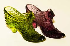 Glass shoes..remind me of my grandma's candy dishes.
