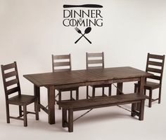 Dinner is Coming Silverware Wall Decor Vinyl Decal Sticker - Game of Thrones Parody for kitchen quote or dining room by BetterThanStickers on Etsy https://www.etsy.com/listing/277720734/dinner-is-coming-silverware-wall-decor