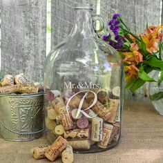 Mr. & Mrs. Wedding Wishes in a Bottle Guest Book - we like the idea of a clear growler