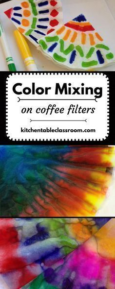 Color Mixing on Coffee Filters- Primary colors are one of the first art concepts I like to introduce young kids to in art. First, because they are a basic building block for for understanding how to make all kinds of things. And second, because mixing col Preschool Colors, Preschool Activities, Preschool Art Lessons, Process Art Preschool, Kid Activites, Kindergarten Projects, Kindergarten Art Projects, Kindergarten Fun, Preschool Learning