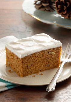 Pumpkin Spice Cake with Brown Sugar Frosting -- Cream cheese frosting made with brown sugar adds delicious fall flavor to this pumpkin dessert recipe.