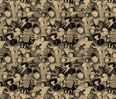 Madge Gill inspired ghosts fabric by lusyspoon on Spoonflower - custom fabric