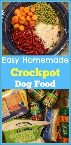 Are you wanting to make your own dog food? This is an Easy Homemade Crockpot Dog Food recipe. Just throw all the ingredients in the crockpot and cook for a couple of hours. Out comes healthy homemade dog food that your furry family member will love!