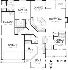 Innovative floor plans for the one story open floor will be varied. One story open floor plans is ideally designed with several rooms with its functions. House Plans One Story, House Plans And More, Best House Plans, Story House, House Floor Plans, Barndominium Floor Plans, Craftsman Style House Plans, Ranch House Plans, Craftsman Farmhouse