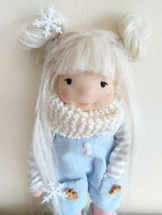 Emma 105 inches Waldorf inspired doll Christmas handmade | Etsy Cotton Tights, Cotton Scarf, Suri Alpaca, Pavlova, Handmade Christmas, Doll Clothes, Crochet Hats, Pure Products, Wool