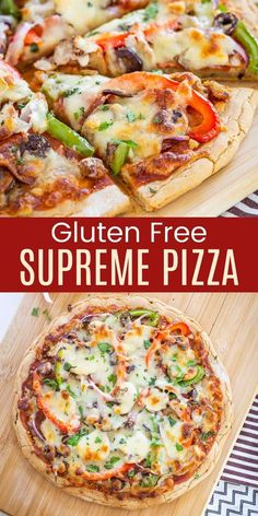 Gluten Free Supreme Pizza - just like the pizzas you get at Pizza Hut or Domino's or Pizza Hut, but even better because it is homemade. Follow the easy gluten free pizza crust recipe, or use your favorite, and top it with sauce, pepperoni, Italian sausage, veggies, and two types of cheese!