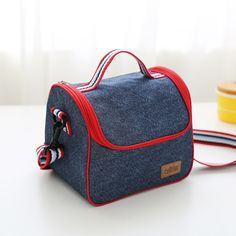 2017New Fashion Portable Insulated Denim lunch Bag Thermal Food Picnic Bag for Women kids Men thermo Cooler Lunch Box Bag 10size