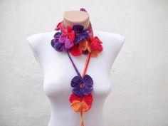 Handmade crochet Lariat Scarf Purple Red Orange Yellow by nurlu, $20.00