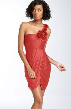 BCBGMAXAZRIA One Shoulder Tulip Hem Jersey Dress