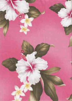 60kamalei Vintage Hawaiian fabric, hibiscus and plumeria flowers on apparel cotton.