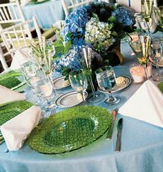 blue tablecloths with green plates