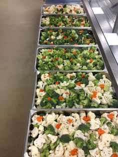 """Pans of fresh veggies ready to steam with a a little extra """"heart"""""""