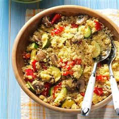 Dijon Veggies with Couscous Recipe -Coated in a tangy Dijon sauce, these tasty veggies and fluffy couscous make for a delightful side. Diana Dumitru — Fairview Park, Ohio