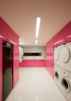 Glossy Pink Laundry Room