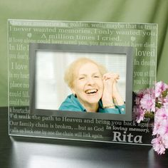Personalized Engraved In Loving Memory Memorial Glass Frame