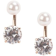 Snö Of Sweden Siw Pearl Double Ear (€29) ❤ liked on Polyvore featuring jewelry, earrings, accessories, rosegold, womens-fashion, bead jewellery, pearl earrings, pearl jewelry, beading jewelry and beaded jewelry