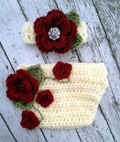 Crochet red Flower Vine white Diaper/ Nappy Cover with Matching headband Set Photo props