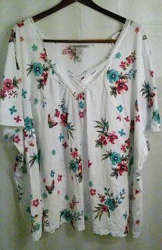 Roamans Womens Shirt Blouse Plus Size 5X Floral Multi Color Short Sleeve Spring  #Roamans #Blouse #Casual