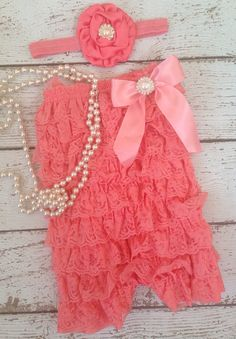 Coral Lace Romper/Dark Coral/Salmon Romper/Baby Romper/Newborn Romper/First Birthday/CakeSmash/Milestone Pictures/Photoprop on Etsy, $20.00