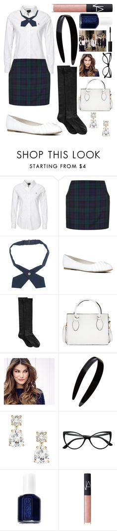 """Halloween costume contest// Constance school girl (gossip girl)"" by emmacaseyyyy ❤ liked on Polyvore featuring Topshop, French Toast, ALDO, Hue, Foley + Corinna, ULTA, France Luxe, Kate Spade, Retrò and Essie"