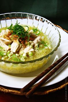 Recipe for Asian Glass Noodle Chicken Soup. Looks super easy and so quick!